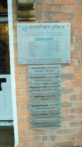 Evesham Place Dental Stratford-upon-Avon - Front signs
