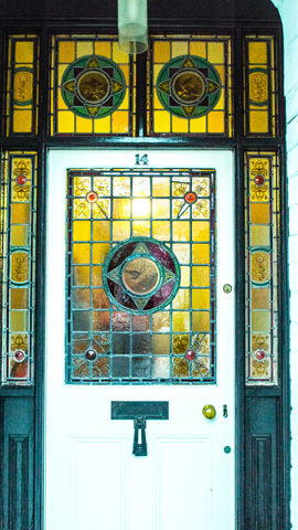 Evesham Place Dental Stratford-upon-Avon- Front door stained glass