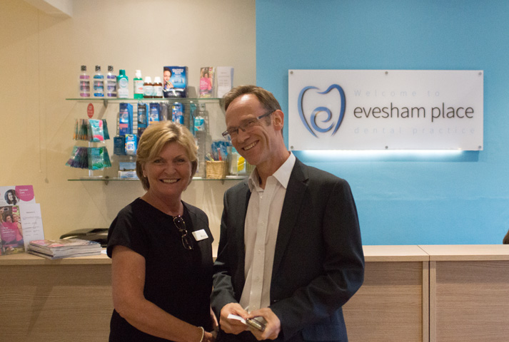 Evesham Place Dental Stratford-upon-Avon - Alison and patient in reception - Private & NHS dentist in stratford upon avon